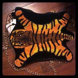 Betsey Johnson beaded tiger rug purse new!